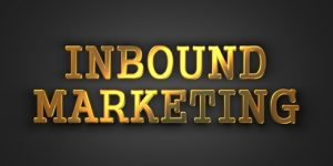 Inbound Marketing. Gold Text on Dark Background. Business Concept. 3D Render.