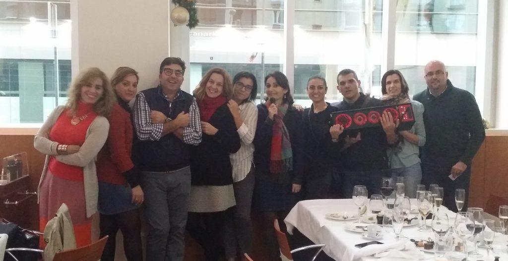 Parte del equipo de Ashotel en la comida de Navidad 2016