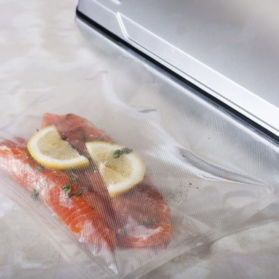 51707060 - salmon fillets in a vacuum package. sous-vide, new technology cuisine