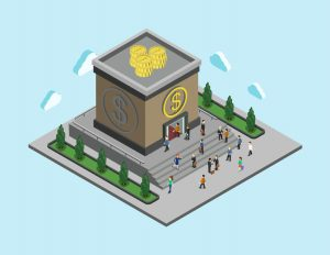 48578417 - bank finance money flat 3d web isometric infographic banking monetary concept vector. people walk to cubic bank building. loan, credit and financial service. creative people collection.