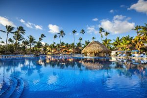 51281713 - tropical swimming pool and palm trees in luxury resort
