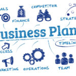 49584608 - business plan. chart with keywords and icons