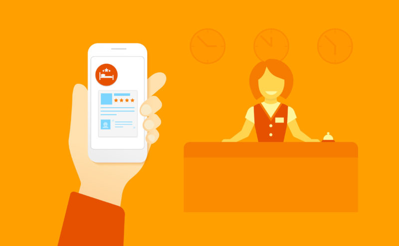 40186591 - flat illustration concept process of booking hotel via mobile app