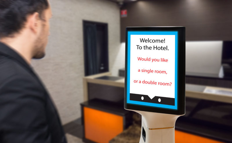 robot in hotel concept, robotic butler help the customer to booking the room, put the object, food, accessories inside it.