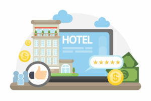 Finding hotel online with reviews and prices.