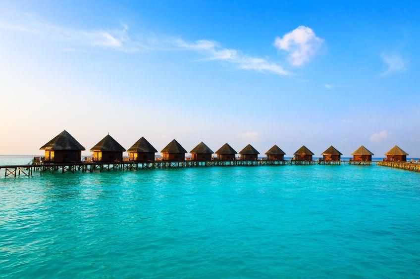 Imagen de unas villas flotantes en Maldivas.