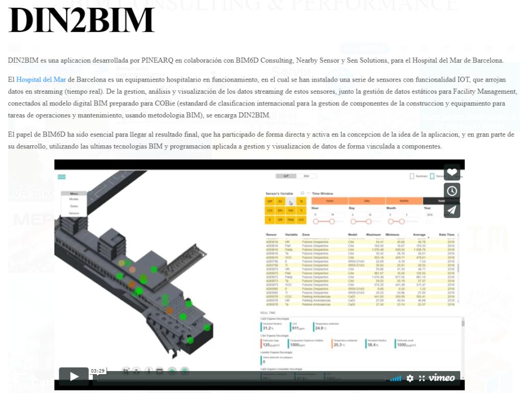 Imagen a vídeo de la aplicación DIN2BIM, sensores con funcionalidad IoT, instalada en el Hospital del Mar de Barcelona.